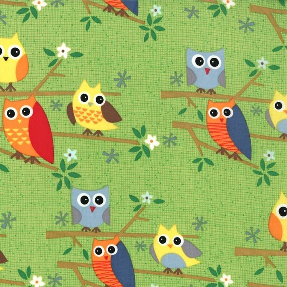 Ten Little Things - Owls in Lime  - SKU 30502 16  - by Jenn Ski for Moda Fabrics - 1 Yard