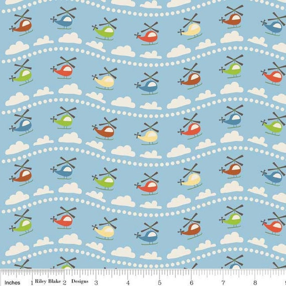 Scoot - Helicopter in Blue - sku C2721  - by Deena Rutter by  Riley Blake Designs - 1 Yard