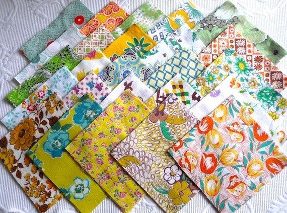Quilt Patterns Using 5x5 Squares : Vintage Feedsack Quilt Squares 25-5x5 Yellow Orange Green