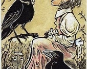 The Crow King and Anne-Lise ACEO ATC Crow Child Drawing Illustration Canvas Cloth Print