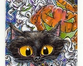 Black Cat Pumpking Halloween ACEO Original Art Print by Kevin King In Canvas Cloth