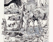 The Button Peddler and the Water Nymphs BW Art 8 X 10 Fantasy Nymph Canvas Cloth Print