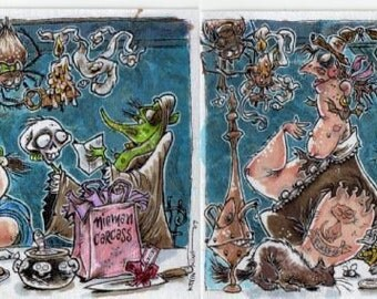 Witch Party Halloween Original Art by Kevin King 2 4 X 6 inches Prints