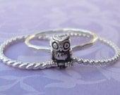 Silver Owl Stacking Ring Set