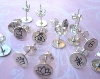 Sterling Silver Custom Hand Stamped Design Stud Earrings