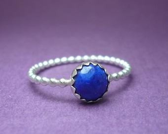 Lapis Lazuli Sterling Silver Stacking Ring Size 7.5