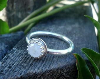 Faceted Moonstone Crown Ring in Sterling Silver