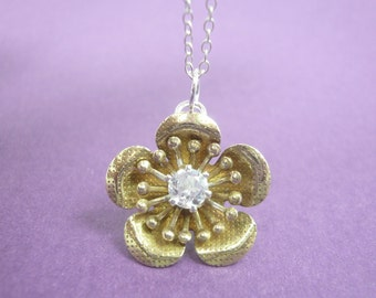 Cherry Blossom Necklace in Sterling Silver and Brass with White Topaz Facet