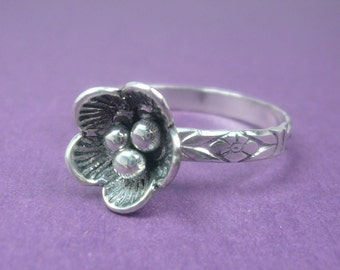 Sterling Silver Cherry Blossom Stacking Ring