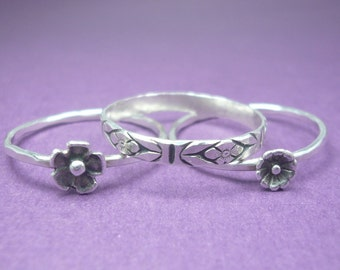 Sterling Silver Flower Bouquet Stacking Rings - Custom Made
