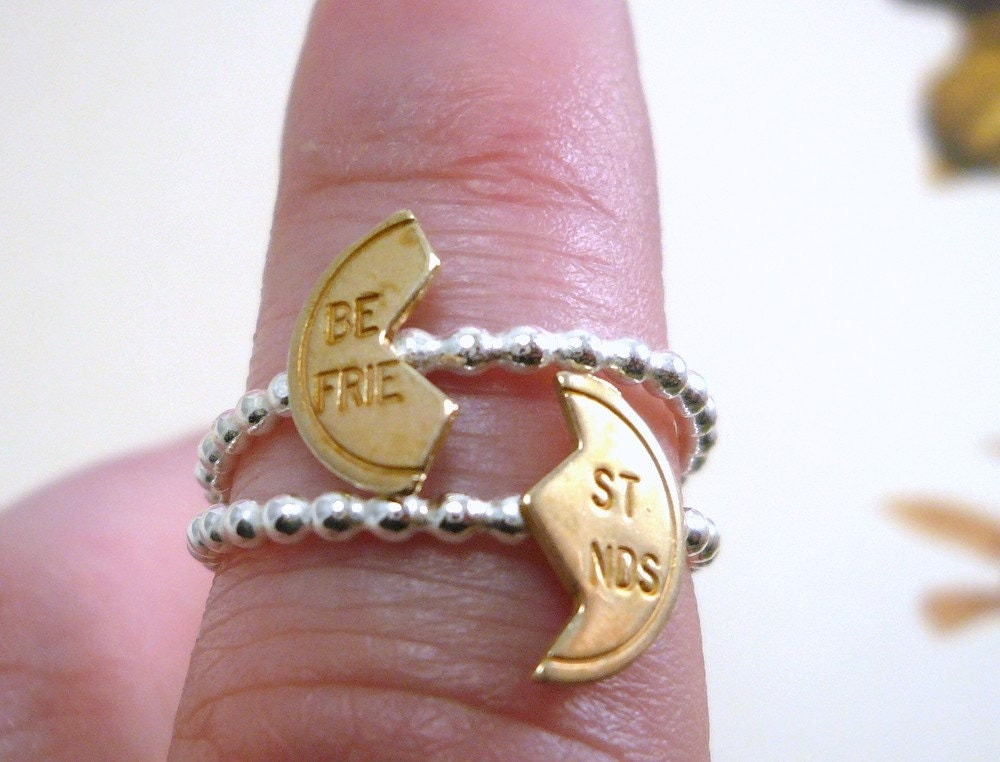 Sterling Silver And Brass Bff Rings