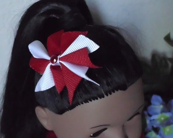 18inch Doll Red and White Hair Bow