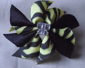 Yellow and Black Zebra Doll Hair Bow