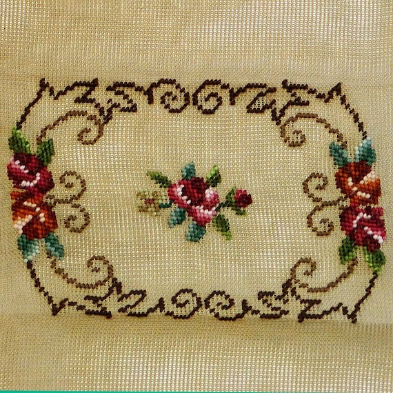 Vintage // TAPIARTE FLORAL NEEDLEPOINT Canvas // Rectangle // Madiera Portugal // To Complete