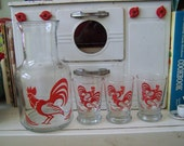 Vintage Red Rooster Juice Carafe and Matching Glasses Set