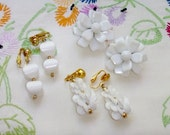 Vintage Lot Beaded Earrings Summer White Clip Ons