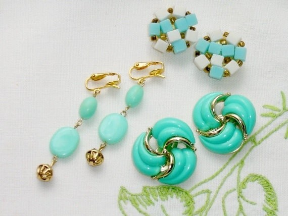 Vintage Turquoise Blue Earring Lot of 3 Clip On Spring Color