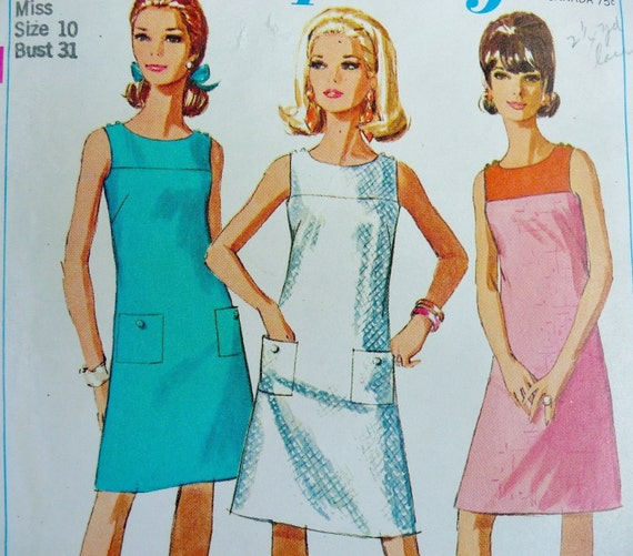 Vintage A Line Dress Pattern Simplicity 7118 JIFFY 1960s Sz 10