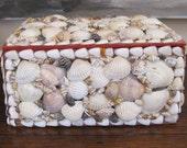 Vintage Hand Made Seashell Sea Shell Box Jewelry Box Trinket Box Beach Decor Large