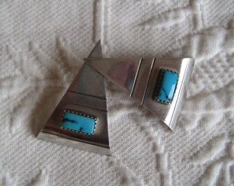 Vintage Earrings Sterling Silver and Turquoise Artisan  Native American Southwest   Post