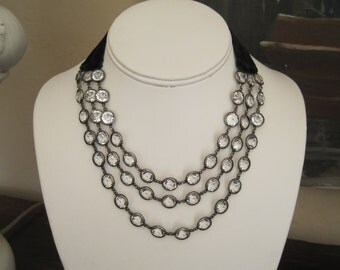 Art Deco Flapper Era Necklace Quartz Crystals in Sterling Silver Black Velvet