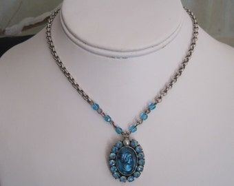Czech Glass Cameo Necklace  Aqua Blue Glass Intaglio Aurora Borealis Rhinestones