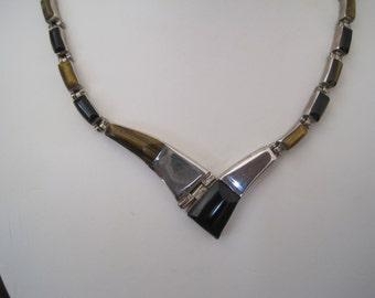 Bold Modernist Taxco Necklace Tiger Eye Black Onyx Sterling Silver 950