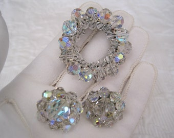 Coro Demi Parure Brooch Pin Earrings Crystal Aurora Borealis Faceted Beads Shimmering Stars Circle of Life