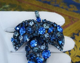 Brooch Pin Rhinestone Leaf Sapphire Blue Cobalt 5 Shades of Blue Signed Made in Austria