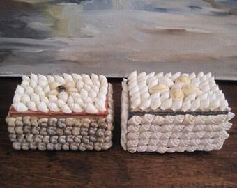 Pair Shell Boxes Seashell Beach Decor Nautical Small Storage