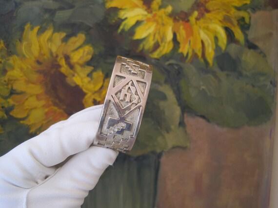 Bracelet Cuff Wide Silver Overlay Sterling Silver Native American Kyasyousie Hopi