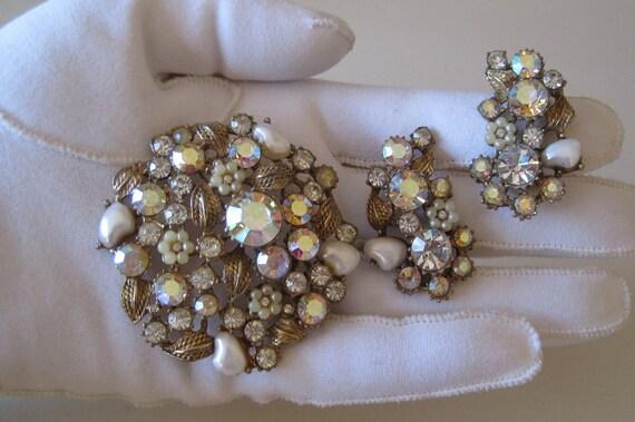 Claudette Brooch and Earrings RARE Set Demi Parure Aurora Borealis Rhinestones Faux Pearls