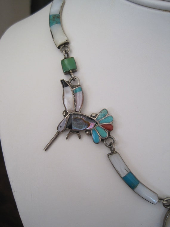 Necklace Zuni Native American Hummingbird Sterling Silver Inlay Turquoise Coral MOP Abalone Jet