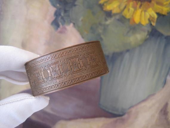 Vintage Copper Cuff Bracelet Engraved Mid-Century Unisex