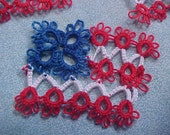 2 New Tatted USA Flags by Dove Country Tatting