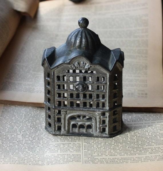 Antique Cast Iron Building Bank