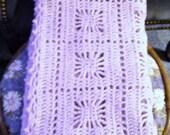 Lavender crib size crocheted baby blanket needles1 on Etsy.com
