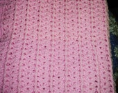 Blanket, Carriage, Baby Pink ,Crochet by Needles1.Etsycom