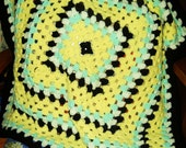 Mint,Yellow,White, Black,Baby Blanket by Needles1.on Etsy com