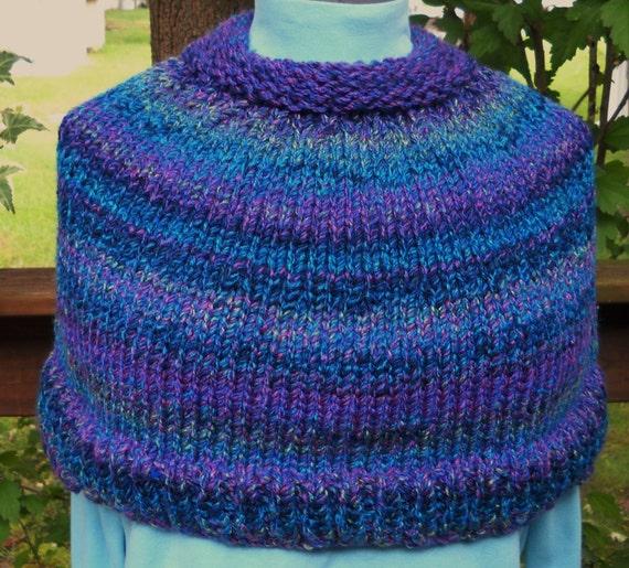 Ladies  Capelet,Petite,Blue and Lavender by Needles1.Etsy.com