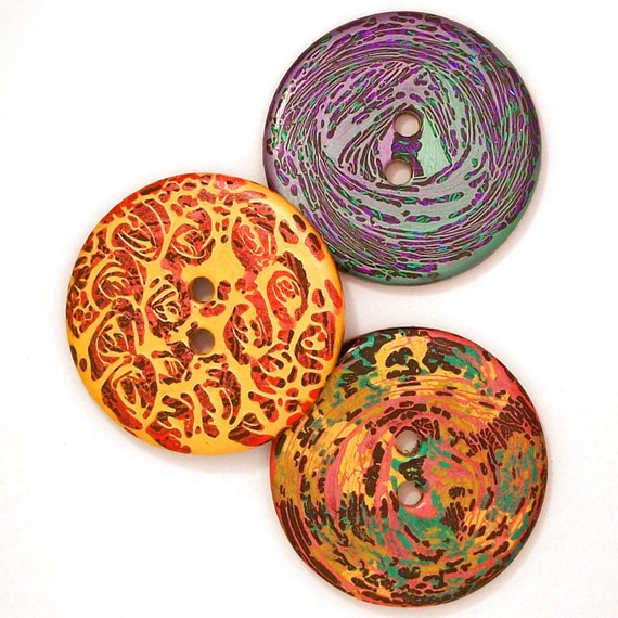 Extra Large Handmade Resin Buttons 3 Different Styles Sewing Buttons