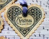 Same Day Shipping Vintage Style Gift Tags Labels Keep Christmas in your Heart Holiday Heart Set of 5 Handmade