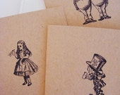 All Occasion Handmade Alice in Wonderland Kraft Greeting Cards Stamped w Envelopes Stickers Set of 7 Great Gift Quick Shipping