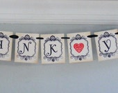SALE 2 pLUS BANNERS  Thank You Hand Stamped Vintage Style Hanging  Banner for Wedding Shower Party Vintage Look