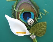Peacock and Calla Lily Boutonniere