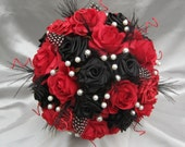 HARLEQUIN - Black, Red and white Luxury bridal bouquet