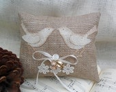Burlap ring bearer pillow with burlap love birds appliqué  and vintage glass button.