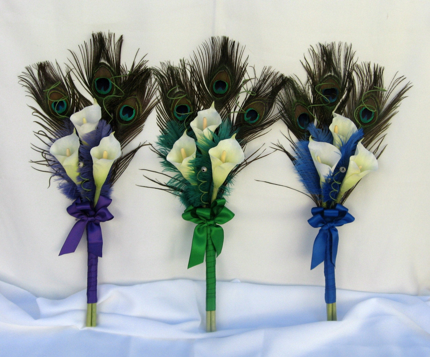 reserved for laura 3 x peacock ostrich feather and calla