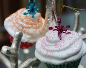 RESERVED- Mini Snowflake Cupcake Ornaments- S/2