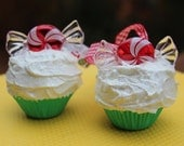 RESERVED- Peppermint Mini Cupcake Ornaments- S/2